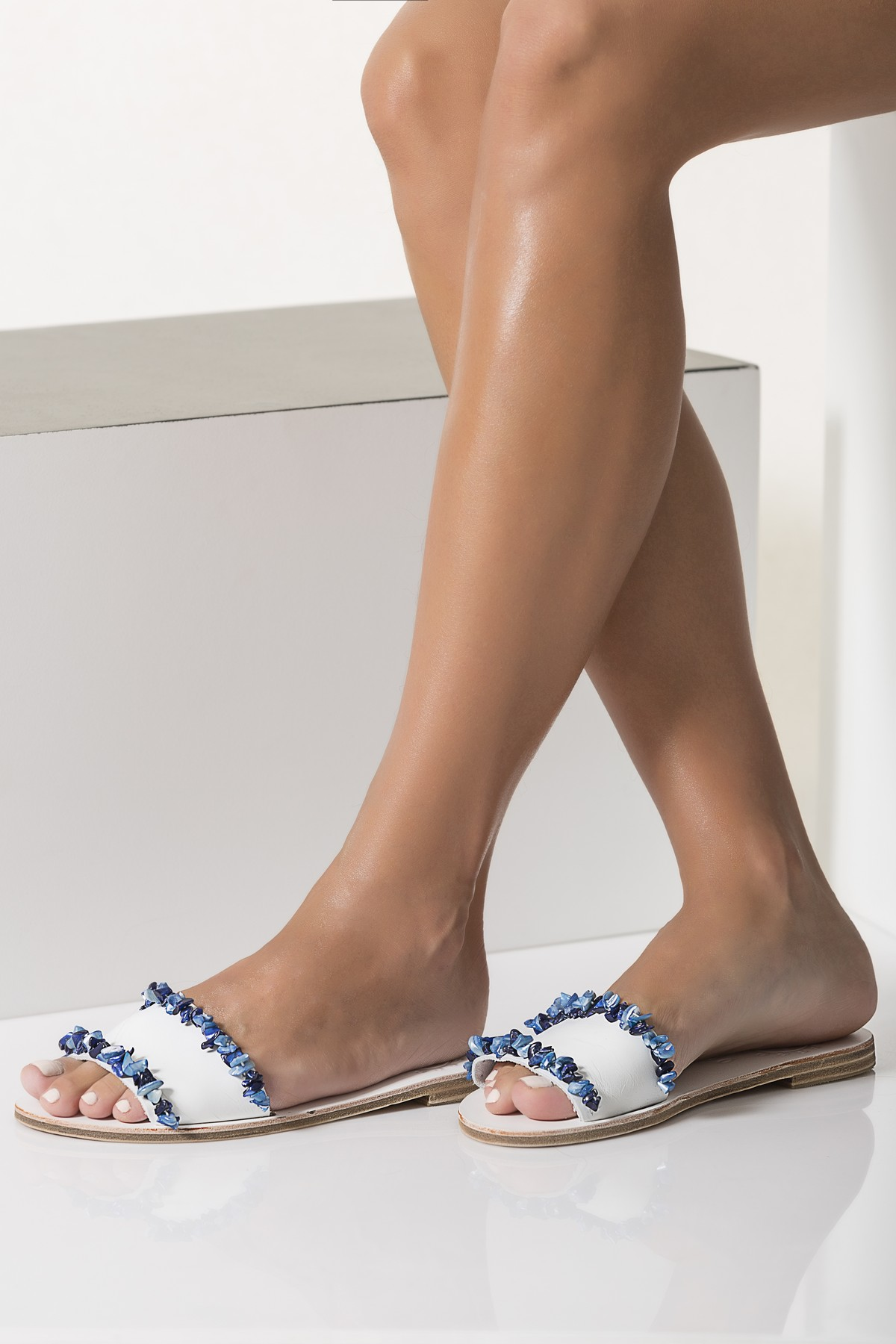 Blue Flat Sandals Wedding