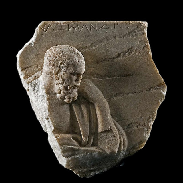 Relief representing Anaximander (Roma, Museo Nazionale Romano). Probably Roman copy of an earlier Greek original. This is the only existing image of Anaximander from the ancient world.