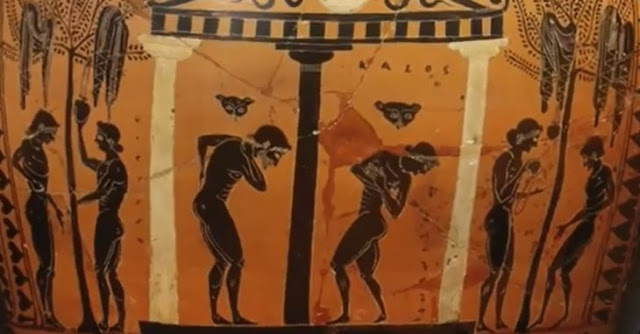 Ancient Greek pottery depicting the first showers, which were invented by the ancient Greeks.