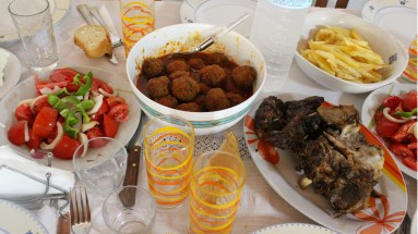 Thea Agelo an my cousin Toula's homemade meal in Lefkada.