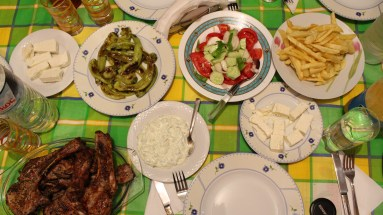Brizoles! I love brizoles! And my cousin made the tzaziki special! I love that stuff. I spread it like butter.
