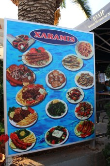I love the food signs in Greece. We take signs to seriously where I live. these are funner.