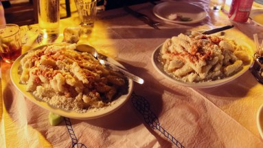 I have no idea how to spell gogles, but this homemade pasta with fried cheese on top was a winner.