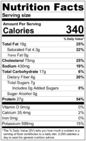 kleftiko nutrition label