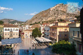 Syntagma square and Palamidi fortress on the hill above
