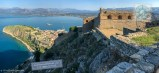 Panoramic view of Nafplio old town, Bourtzi, and Acronafplia