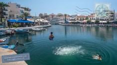 Divers in Voulismeni lake, Agios Nikolaos, Crete
