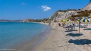 Sand and parasols at Ahivadolimni beach