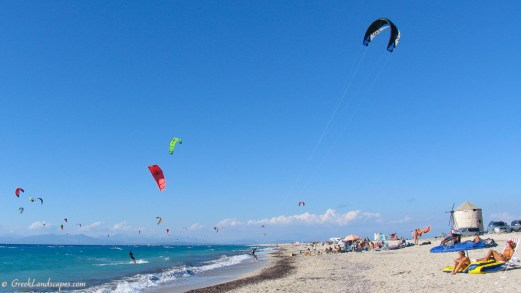 wind and kite surfing at Miloi beach