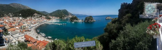 Parga panorama with the town and its harbor