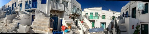 Panoramic view of narrow streets and white homes