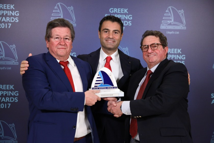 Raffaele Palumbo of sponsor Palumbo Shipyards (centre) presenting the Passenger Line of the Year Award to George Stefanou and Dimitris Stefanou of Golden Star Ferries.
