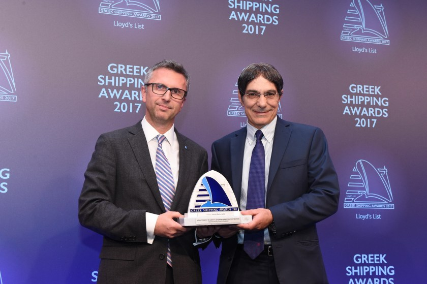 Theodosios Stamatellos of sponsor Lloyd's Register presenting the Award for Achievement in Safety or Environmental Protection to Panos Zachariadis.