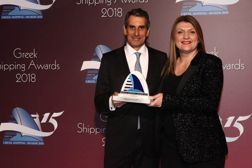 Despina Panayiotou-Theodosiou of sponsor Tototheo Maritime presenting the Shipping Financier of the Year Award to Yiannis Karamanolis of BNP Paribas.