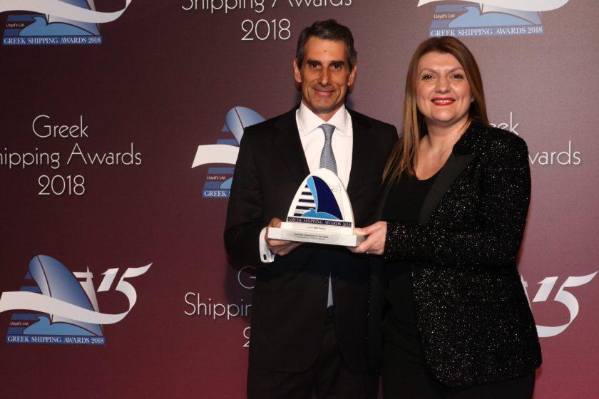 Despina Panayiotou-Theodosiou of sponsor Tototheo Maritime presenting the Shipping Financier of the Year Award to Yiannis Karamanolis of BNP Paribas.