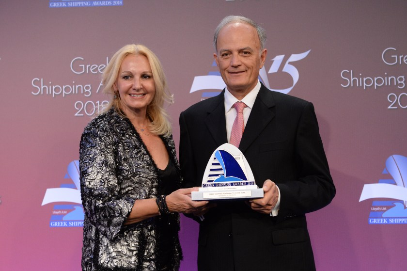 Christina Margelou of sponsor Eurobank presenting the Greek Shipping Personality of the Year Award to John Platsidakis.