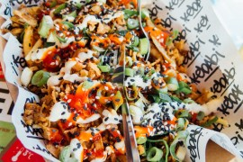 Green Amsterdam - Vegan Spots Kebabi served on a Pita 3.0 Kapsalon Loaded Fries
