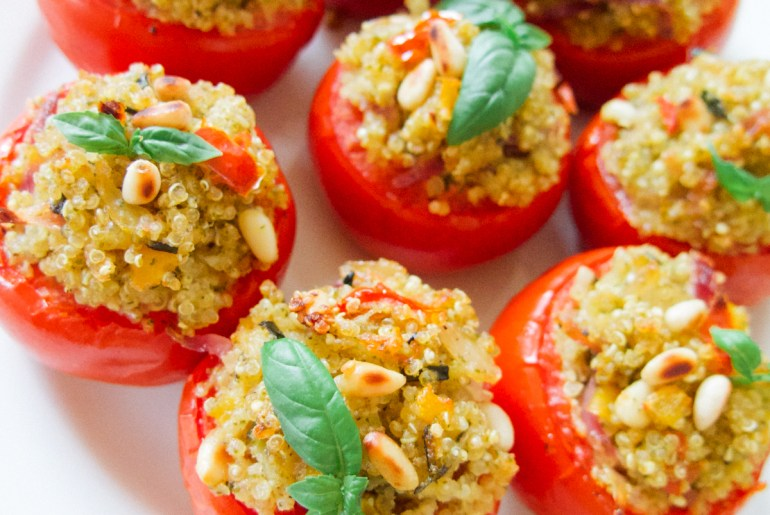 JOYN vegan stuffed tomatoes quinoa pesto vegan recipe Green Amsterdam