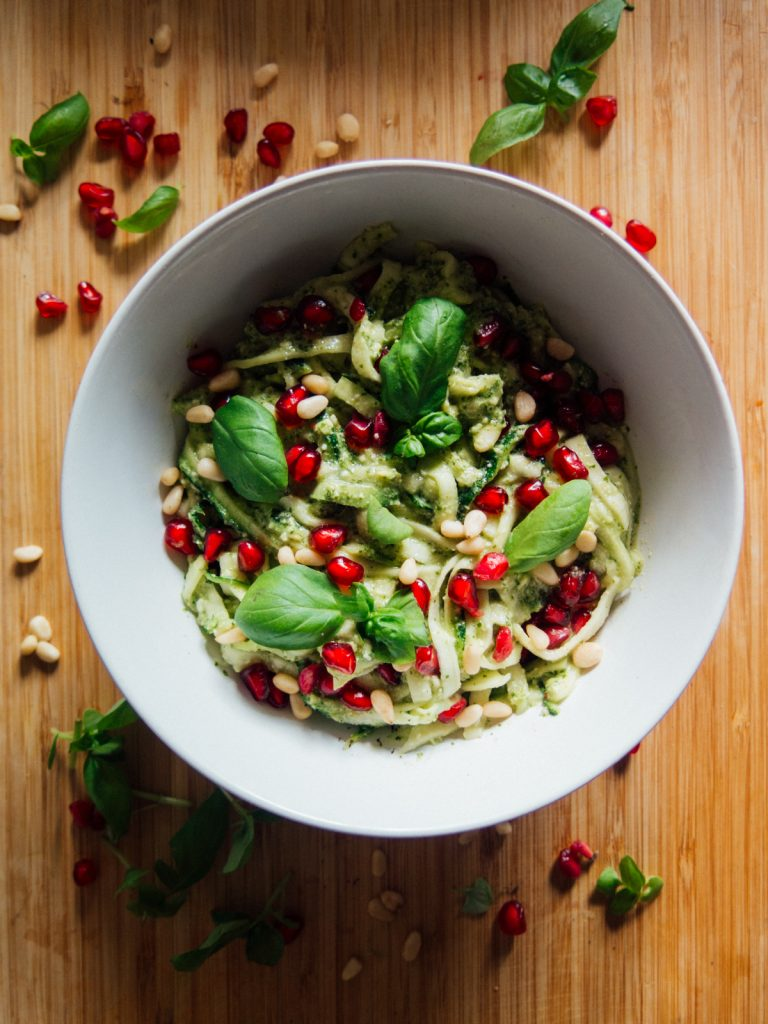 Green Amsterdam Vegan Recipe Courgetti Pesto Pomegranate