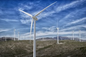park wind farm, wind, clouds