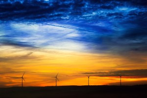 sunrise, sun, windräder