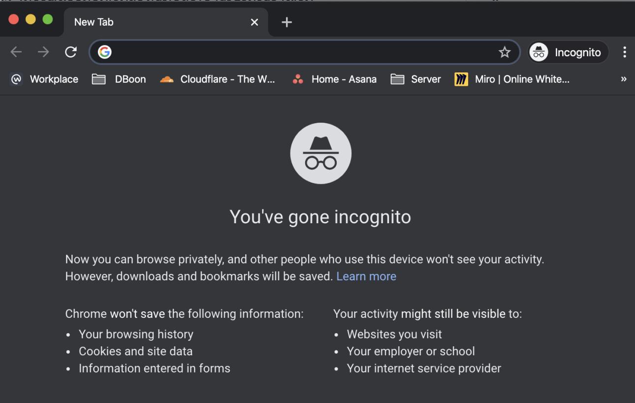 หน้าตาของโหมดไม่ระบุตัวตนใน Google Chrome