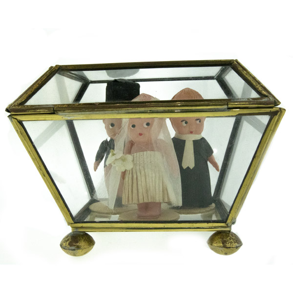 Vintage Celluloid Kewpie Doll Wedding Set (w/glass box) - Green Acres Antiques Marietta OH