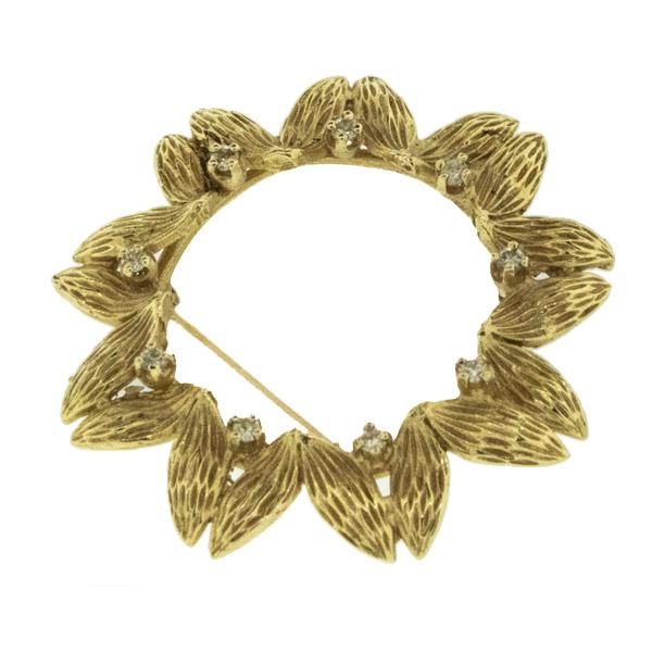 Vintage 14k Gold & Diamond Pin - Green Acres Antiques Marietta OH