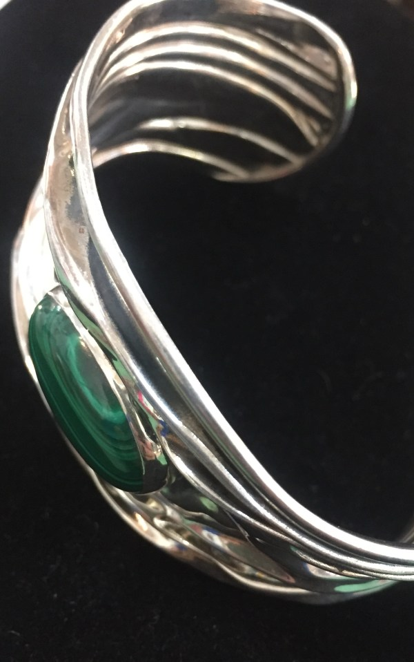 Artist Signed Sterling and Malachite Bracelet
