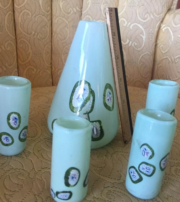 Millie Fiori Handblown 5 Piece Glass Set - Green Acres Antiques Marietta OH