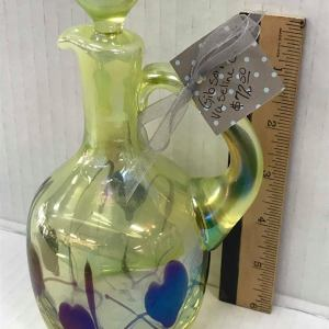 Gibson Vaseline Glass Cruet - Green Acres Antiques Marietta OH