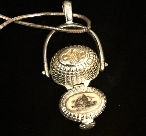 Fabulous Sterling Longaberger Basket Necklace with a Miniature Penny - Green Acres Antiques Marietta OH