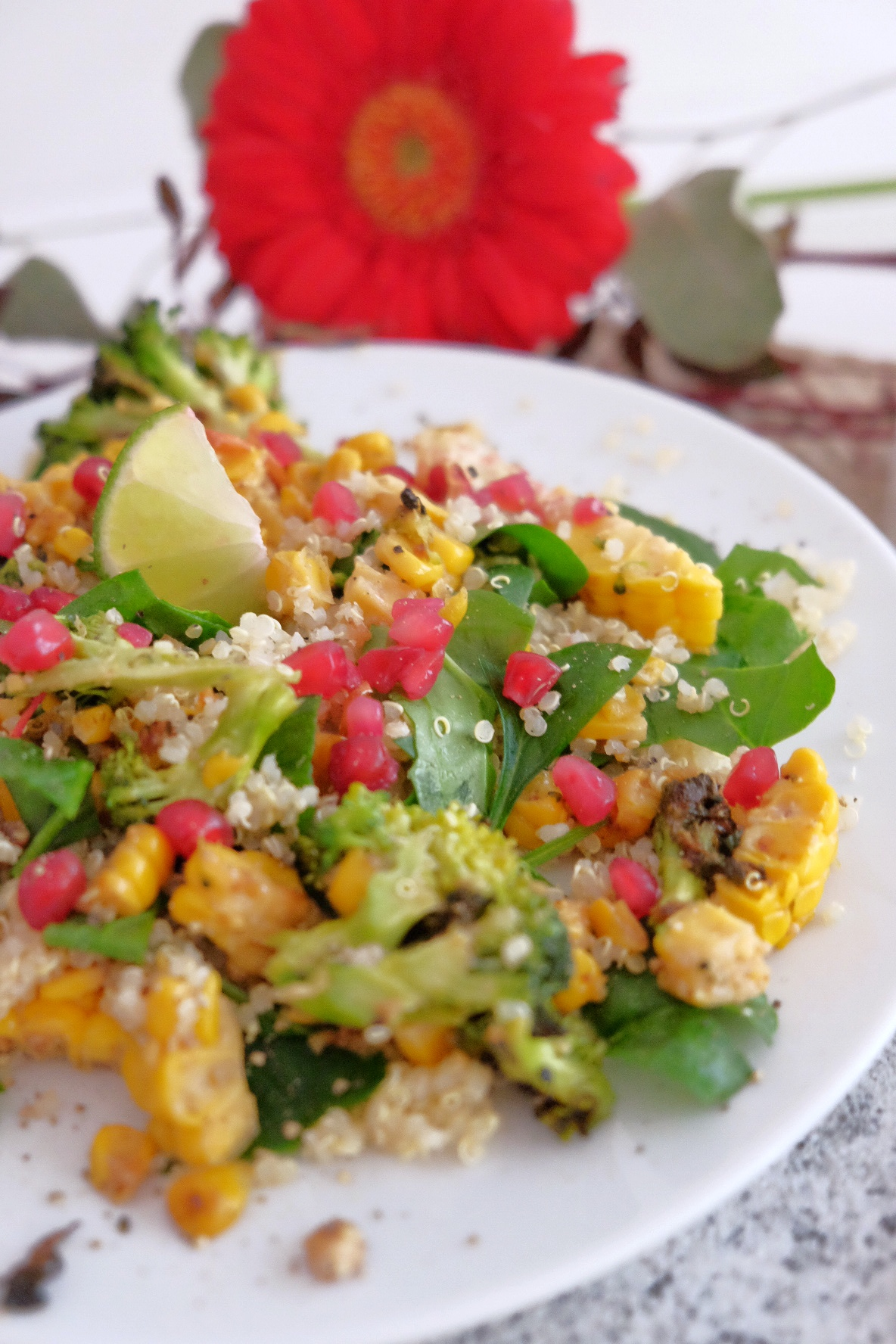 Quinoa salad with pomegranate, corn and peanut.