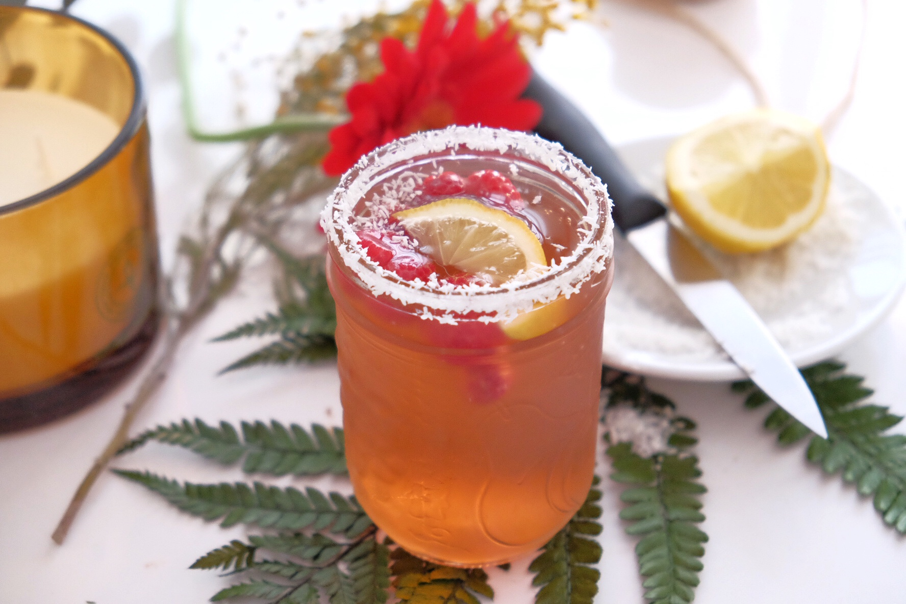 Ice tea framboise et hibiscus.