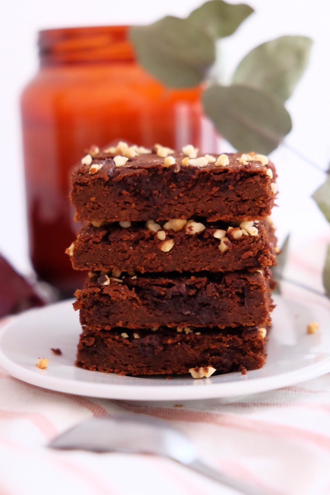 Peanut butter chickpeas brownie