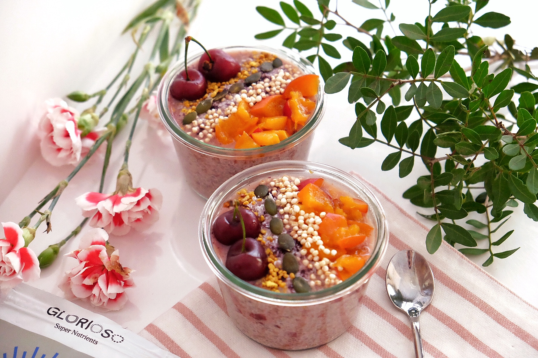 Chia pudding with cherry and almond butter