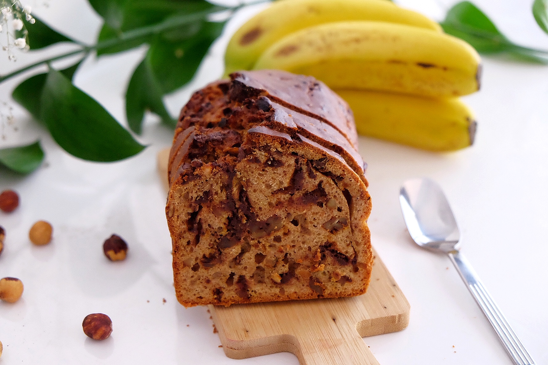 Banana bread with nuts and turmeric