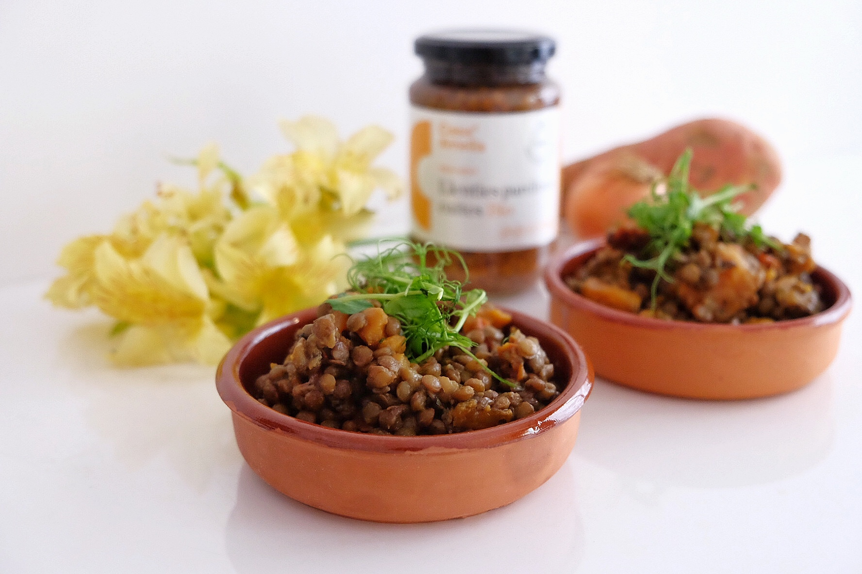 Lentils with sun-dried tomatoes and sweet potatoes