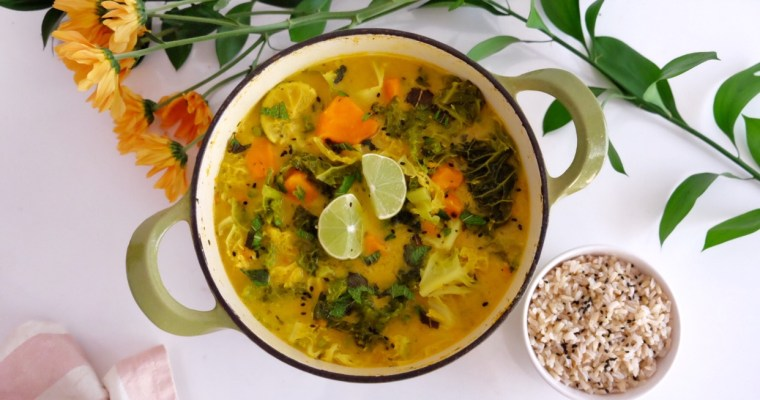 Curry with coconut milk, sweet potato, and cabbage