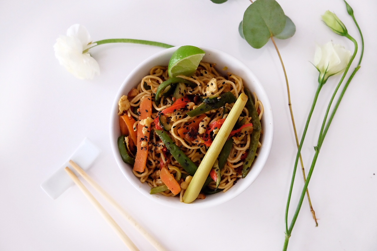 Vegetarian Pad Thai with vegetables and soy sauce