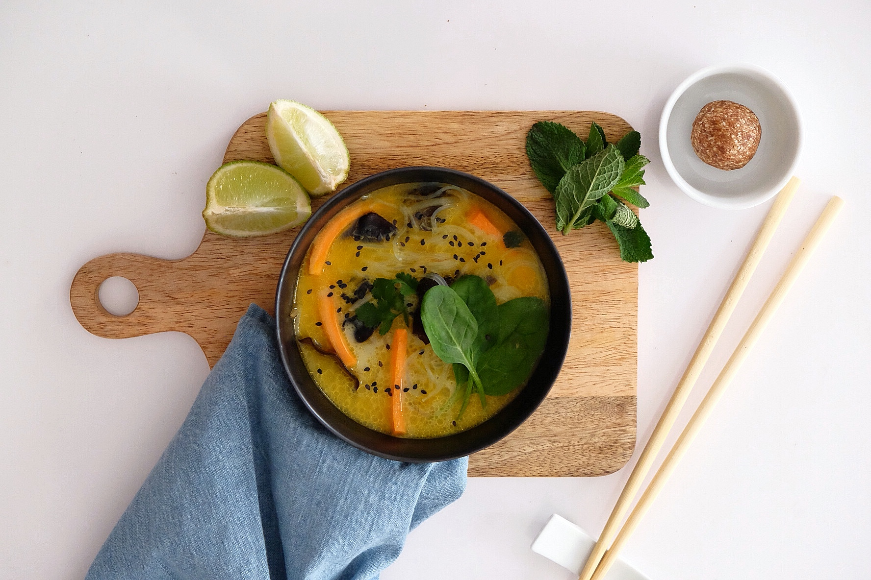 Thai-style vegetable soup with curry and coconut milk