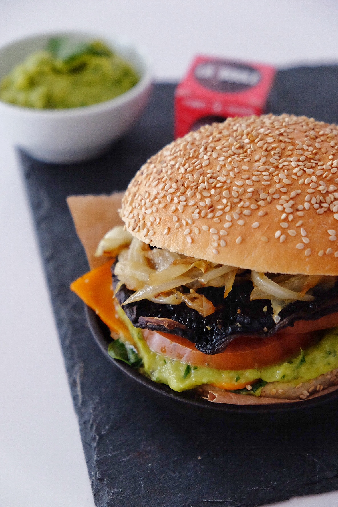 Vegetarian burger with Portobello mushrooms