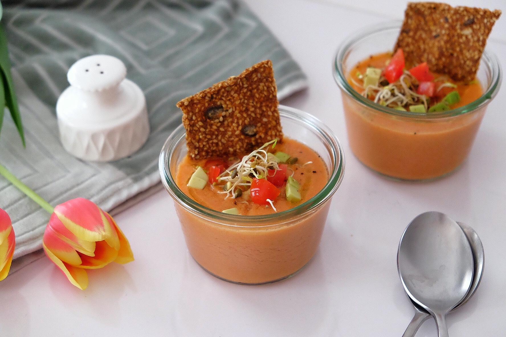 Super fresh gazpacho of watermelon and tomatoes