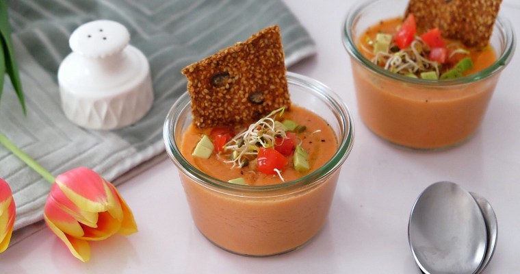 Super fresh gazpacho of watermelon and tomatoes