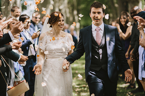 Outdoor wedding confetti shot in France