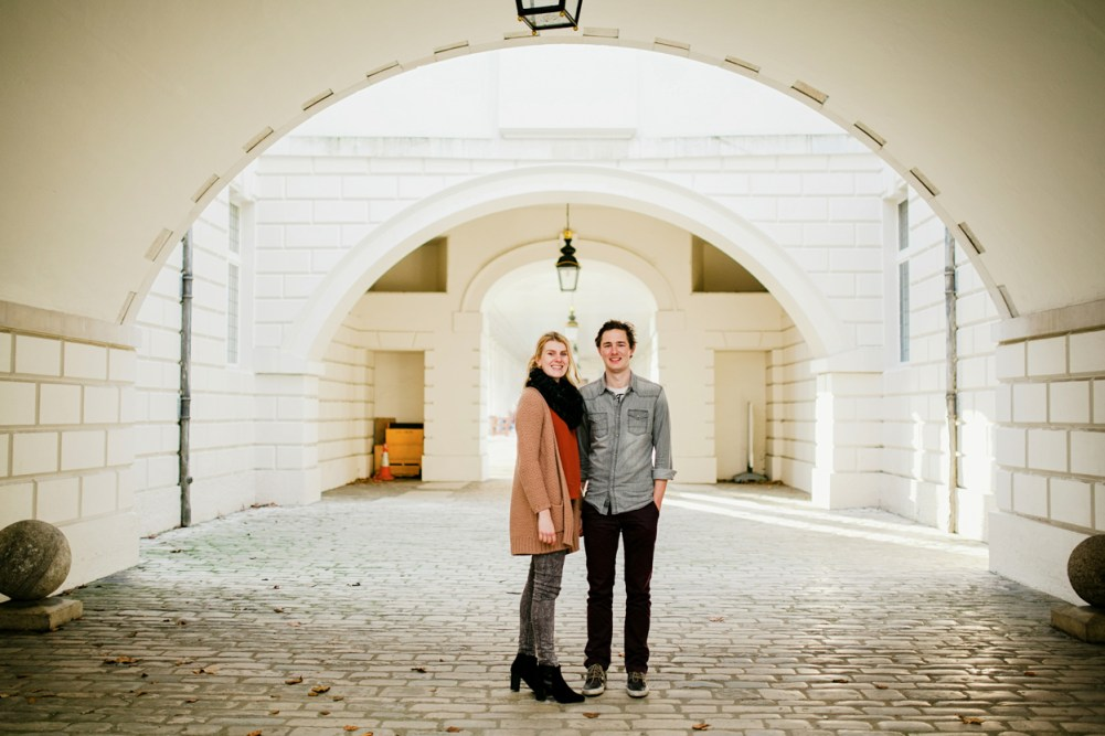 Couple's portrait at the Greenwich Naval College by London wedding photographer