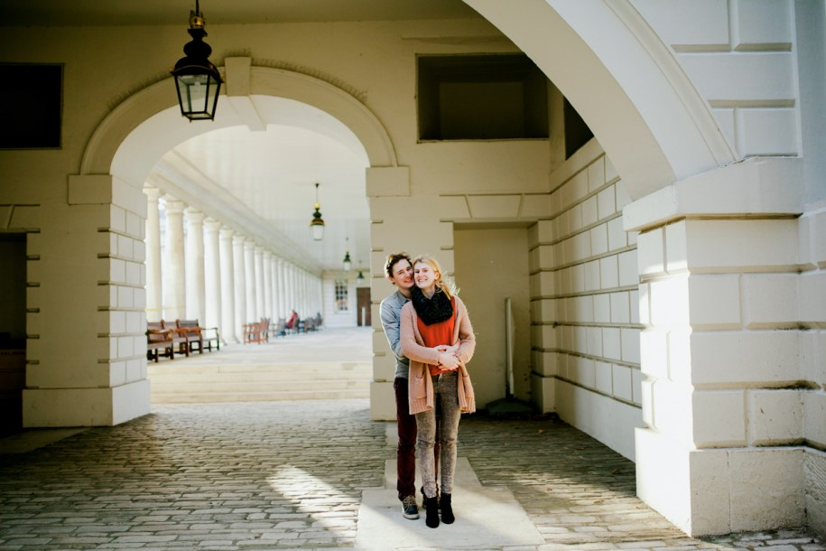 Couple posing for a photo at Greenwich Naval college by greenwich wedding photographer