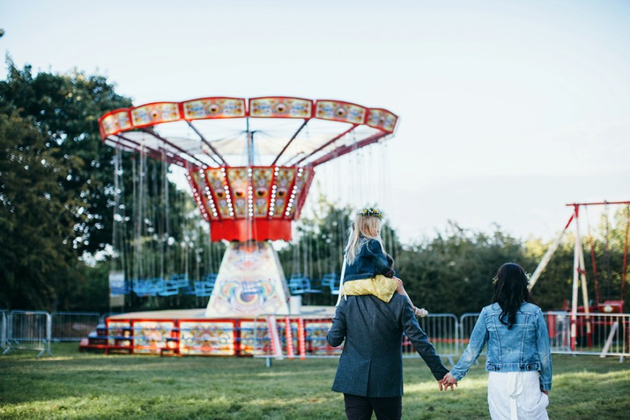 bride and groom at the good life experience festival by london wedding photographer in Hawarden