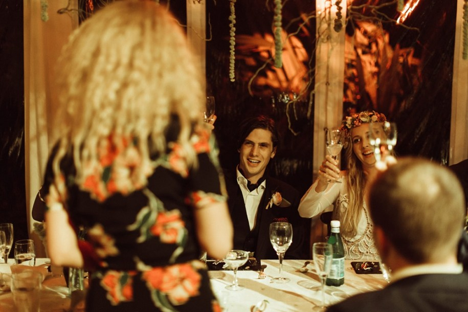 Juno Temple holding a speech for bride and groom New Forest wedding