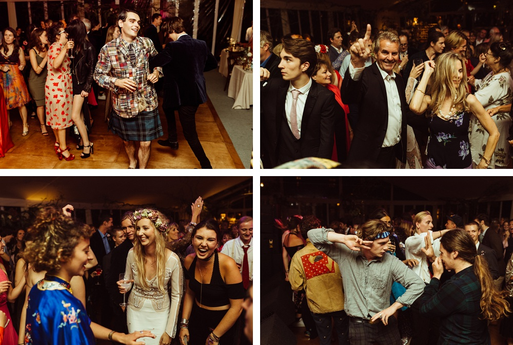 wedding guests on the dance floor at New Forest wedding